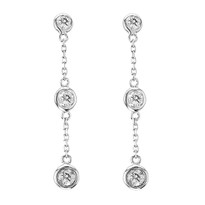 """Diamonds by The Yard"" 14k White Gold Bezel Set Drop Earrings .25ct (1/4ct)"