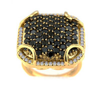 """Ilano Collection"" 18k Yellow Gold Black Diamond with Diamond Ring (1.53ct t.w)"