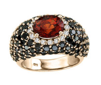 """ILANO Collection"" 18k Rose Gold Garnet and Black Diamond Ring (6.55ct t.w)"