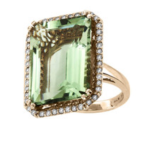 """ILANO Collection"" 18k Rose Gold Green Amethyst and Diamond Ring (26.51ct t.w)"