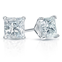 14k Gold Princess Cut Diamond Earring studs 2ct t.w. (2ct)