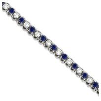 Round Blue Sapphire & Diamond Tennis Bracelet in 14k White Gold (4.75ct t.w)