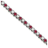 Round Ruby & Diamond Tennis Bracelet in 14k White Gold (4.75ct t.w)