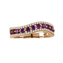 14k Rose Gold Purple and White Diamond Ring (.64ct t.w)