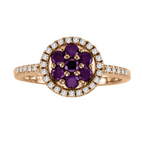 14k Rose Gold Purple and White Diamond Flower Ring (.79ct t.w)