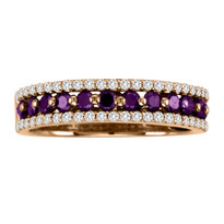 14k Rose Gold Purple and White Diamond Ring (.83ct t.w)