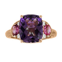 14k Rose Gold Amethyst with Pink Sapphire and Diamond Ring (4.24ct t.w)