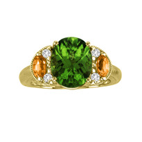 14k Yellow Gold Peridot with Yellow Sapphire and Diamonds (3.24ct t.w)