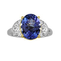 14k White Gold Oval Tanzanite and Diamond Ring (1.86ct t.w)