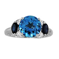 14k White Gold Blue Topaz with Sapphire and Diamond Ring (3.24ct t.w)