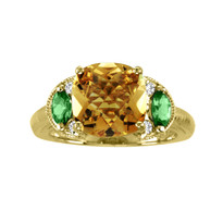 14k Yellow Gold Citrine with Green Sapphire and Diamond Ring (3.24ct t.w)