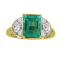 14k Yellow Gold Emerald and Diamond Ring (3.24ct t.w)