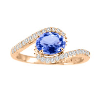 14k Rose Gold Oval Tanzanite and Diamond Ring (1.31ct t.w)