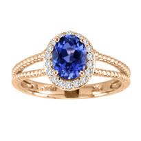 14k Rose Gold Oval Tanzanite and Diamond Ring in Two-Row Setting (1.18ct t.w)