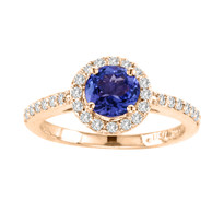 14k Rose Gold Round Tanzanite and Diamond Halo Ring(1.43ct t.w)