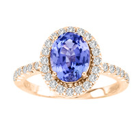 14k Rose Gold Oval Tanzanite and Diamond Ring (2.48ct t.w)