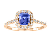 14k Rose Gold Asher Cut Tanzanite and Diamond Ring(1.01ct t.w)