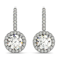 14K White Gold Diamond Halo Earrings (.88ct t,w)