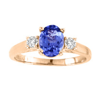 14k Rose Gold Oval Tanzanite and Diamond Three Stone Ring(1.86ct t.w)
