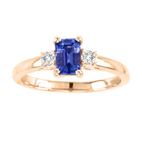 14k Rose Gold Emerald CutTanzanite and Diamond Three Stone Ring(.95ct t.w)