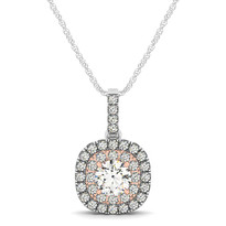 14k White Gold Halo Diamond two-toned Pendant(.76ct t.w)
