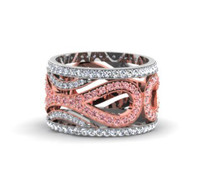 2.10CT t.w Infinity Ring with Pink and White Diamonds in 14k Two-Tone