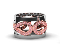 1.25CT t.w Pink and White Diamond Infinity Ring in 14k Two-Tone Gold.