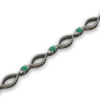 1.36ct t.w Diamond and Emerald Fashion Bracelet in 14k White Gold