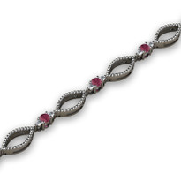 1.52ct t.w Diamond and Ruby Fashion Bracelet in 14k White Gold