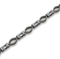 4.06ct t.w Oval and Round Diamond Fashion Bracelet in 14k White Gold