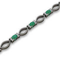 4.06ct t.w Oval Emerald and Diamond Fashion Bracelet in 14k White Gold