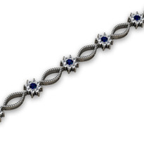 2.88ct t.w Sapphire and Diamond Cluster Bracelet in 14k White Gold