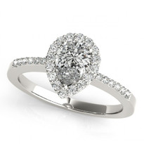 14k White Gold Pear Shape Engagement Semi-Mount (.23ct)