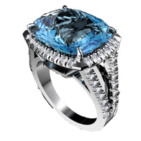 6.40CT Cushion Blue Topaz and Diamond Ring in 14k White Gold(7.05ctw)