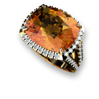 6.40CT Cushion-Cut Citrine and Diamond Ring in 14k Yellow Gold(7.05ctw)