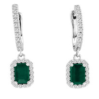 1.08CT t.w Emerald-Cut Emerald and Diamond Earrings in 14K White Gold(1.55ctw)