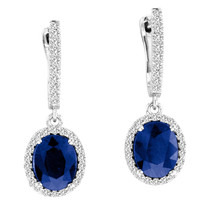 9x7MM Oval Sapphire and Diamond Earrings in 14k White Gold(4.86ctw)