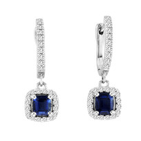 1.00CT T.W Cushion-Cut Sapphire and Diamond Earrings in 14k White Gold (1.44ctw)