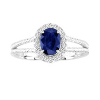 1.16CT Oval Sapphire and Diamond Split Shank ring in 14k White Gold(1.34ctw)