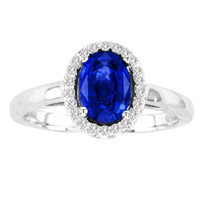 1.CT Oval Sapphire and Diamond Ring in 14k White Gold(1ctw)