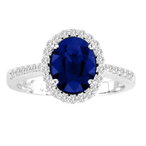 1.75CT Oval Sapphire and Diamond Ring in 14k White Gold(2.05ctw)