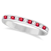 14k White Gold 11-Stone Ruby Chanel Ring (1/3ctw)
