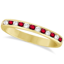 14k Yellow Gold 12-Stone Ruby Chanel Ring (1/3ctw)
