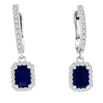 14k White Gold 6X4 Emerald-Cut Sapphire and Diamond Earrings (1 1/2CT.W)