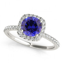 14k White Gold Round Sapphire and Diamond Engagement Ring (.81ct t.w)
