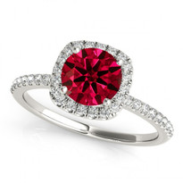 14k White Gold Round Ruby and Diamond Engagement Ring (.81ct t.w)