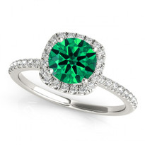 14k White Gold Round Emerald and Diamond Engagement Ring (.81ct t.w)