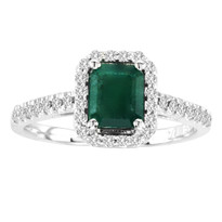 14k White Gold Emerald-Cut Emerald and Diamond Ring(1.25ctw)
