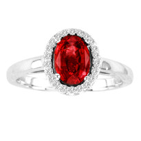 1.CT Oval Ruby and Diamond Ring in 14k White Gold(1ctw)