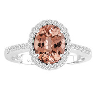 Oval Morganite and Diamond Ring in 14k White Gold(1.76ctw)